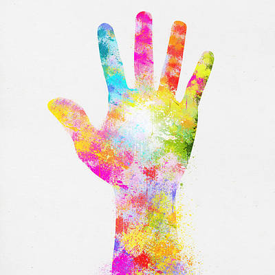 Signed Digital Art - Colorful Painting Of Hand by Setsiri Silapasuwanchai