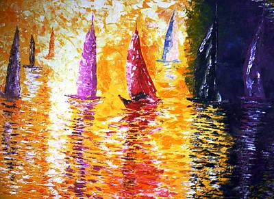 Pietyz Contemporary Art Painting - Colorful Sailing by Piety Dsilva