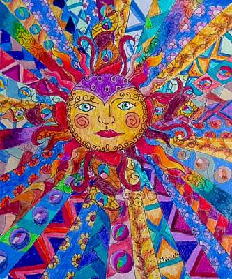 Drawing - Colorful Sun by Megan Walsh