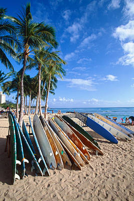 Colorful Surfboards On Waikiki Beach Art Print by George Oze