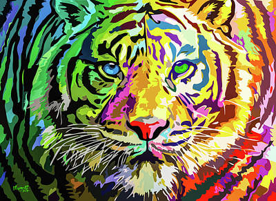 Painting - Colorful Tiger by Anthony Mwangi