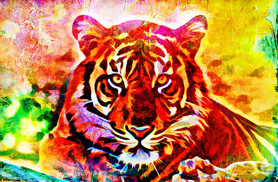 Digital Art - Colorful Tiger by Lilia D