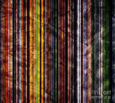 Vintage Photograph - Colorful Vertical Stripes Background In Vintage Retro Style by Michal Bednarek