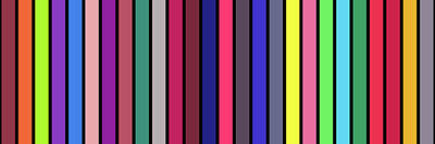 Photograph - Colour Alphabet  - Stripe Grid - On Black by REVAD David Riley