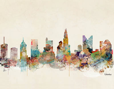 Painting - Columbus Ohio Skyline by Bleu Bri
