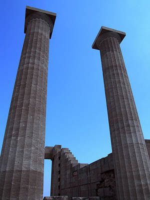 Columns Of The Acropolis In Lindos Rhodes With Blue Sky In Summe Art Print