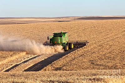 Combine Harvester Photograph - Combine Harvesting Wheat by Inga Spence