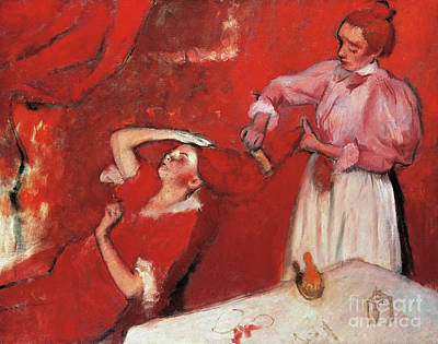 Candid Painting - Combing The Hair  La Coiffure by Edgar Degas