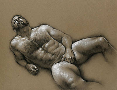 Male Nudes Drawing - Comfort  by Chris Lopez