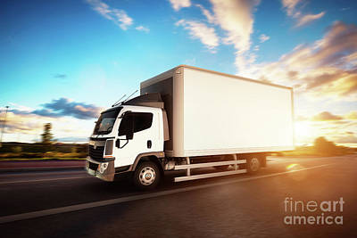 Commercial Cargo Delivery Truck With Blank White Trailer Driving On Highway. Art Print