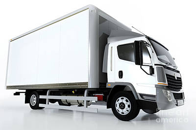 Truck Photograph - Commercial Cargo Delivery Truck With Blank White Trailer. Generic, Brandless Design. by Michal Bednarek