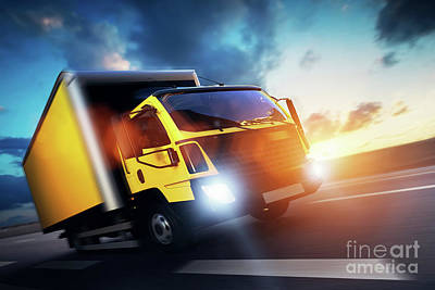 Commercial Cargo Delivery Truck With Trailer Driving On Highway At Sunset. Art Print