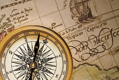 Photograph - Compass And Antique Map by Utah Images