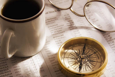 Photograph - Compass And Financial Page by Utah Images