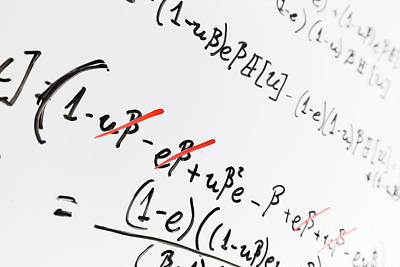 Whiteboard Photograph - Complex Math Formulas On Whiteboard. Mathematics And Science With Economics by Michal Bednarek