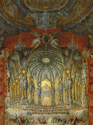 Elaborate Painting - Concert Given By Cardinal De La Rochefoucauld At The Argentina Theatre In Rome by Giovanni Paolo Pannini or Panini