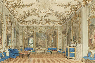 Concerts Drawing - Concert Room Of Sanssouci Palace, Potsdam, Germany by Eduard Gaertner