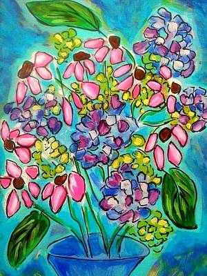 Painting - Coneflowers And Hydrangeas by Nikki Dalton