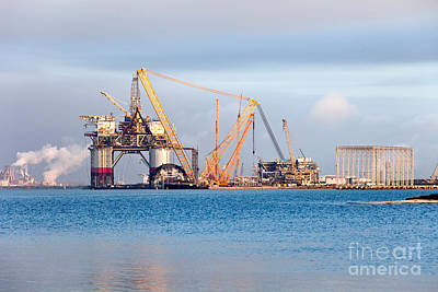 Tower Crane Photograph - Construction Of Oil & Gas Platform by Inga Spence