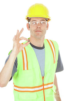 Photograph - Construction Worker Gives Okay Sign by Diana Jo Marmont