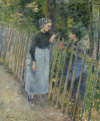 Impressionism Painting - Conversation by Camille Pissarro