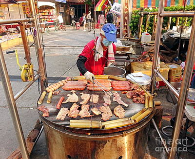 Art Print featuring the photograph Cooking Meat And Eggs On A Huge Grill by Yali Shi