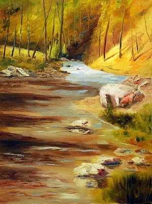 Painting - Cool Mountain Stream by Phil Burton