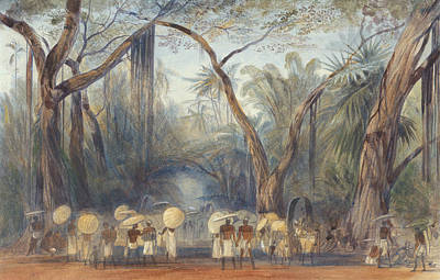 Drawing - Coolies On The Road Near Kalicut, Malabar by Edward Lear