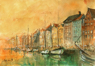 Europe Painting - Copenhagen by Juan Bosco