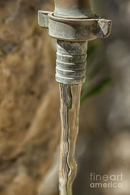 Shiny Thread Photograph - Copper Tap With Running Water by Patricia Hofmeester