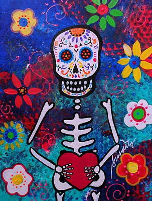 Corazon Day Of The Dead Art Print by Pristine Cartera Turkus