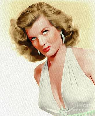 Painting - Corinne Calvet, Vintage Movie Star by John Springfield