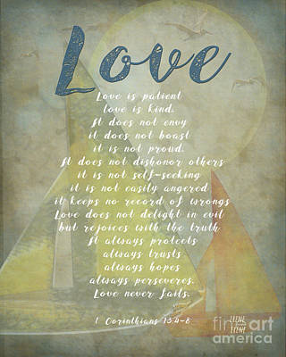 Digital Art - 1 Corinthians 13 4-8 Love Is Patient Love Is Kind Wedding Verses. Great Gift For Men Or Home Decor. by Artist and Photographer Laura Wrede