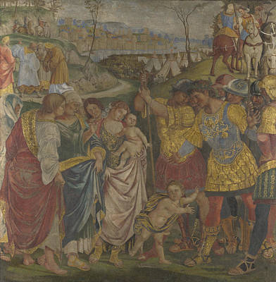 Coriolanus Persuaded By His Family To Spare Rome Print by Luca Signorelli