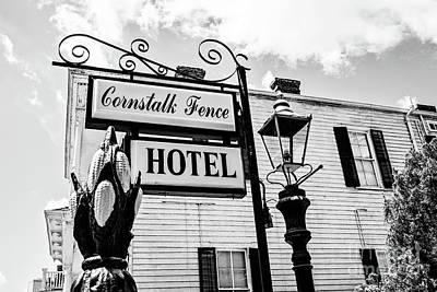 Photograph - Cornstalk Fence Hotel Bw by Scott Pellegrin