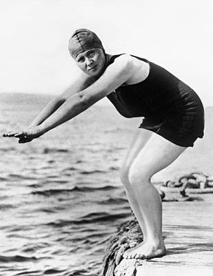 Bathing Photograph - Corson Swims English Channel by Underwood Archives