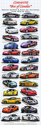 Special Edition Corvettes Drawing - Corvette Box Of Candies - Special Edition And Indy 500 Pace Car Corvettes by K Scott Teeters