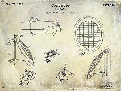 Corvette Headlight Patent Print by Jon Neidert