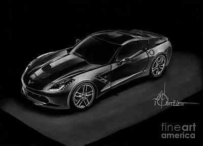 Corvette Drawing - Corvette Stingray by Murphy Elliott