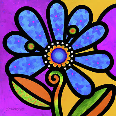 Painting - Cosmic Daisy In Blue by Steven Scott