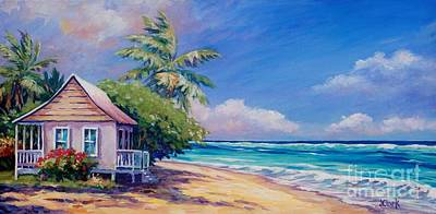 Caribbean Painting - Cottage On The Beach by John Clark