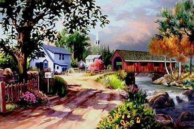 Country Dirt Roads Digital Art - Country Covered Bridge 2 by Ron Chambers