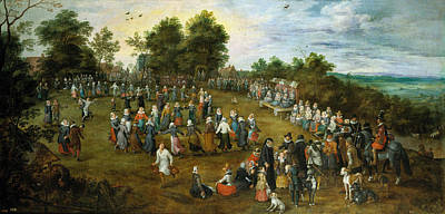 Belgium Painting - Country Dance Before The Archiduques by Jan Brueghel the Elder