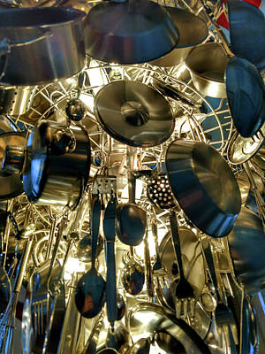 Photograph - Country Kitchen Cookware Pots And Pans Chandelier by Alex Grichenko