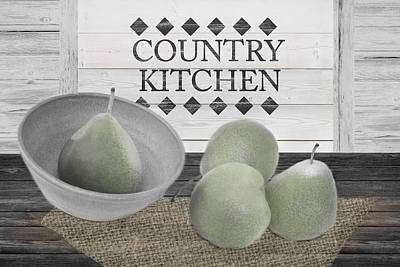 Pear Mixed Media - Country Kitchen by Robin-Lee Vieira
