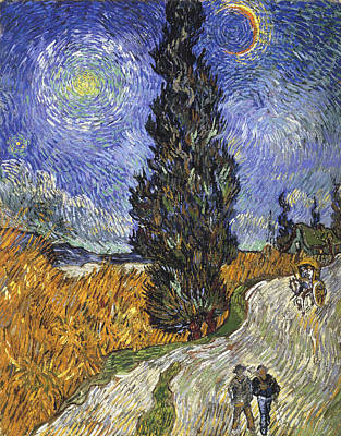Moonlit Painting - Country Road In Provence By Night by Vincent van Gogh