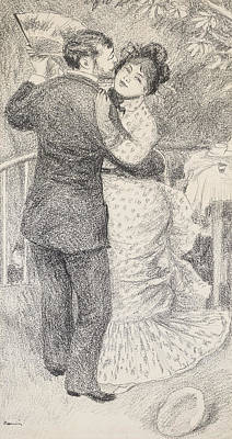 Hands Of Love Drawing - Countryside Dance by Pierre Auguste Renoir