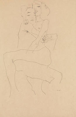 Drawing - Couple Embracing by Egon Schiele