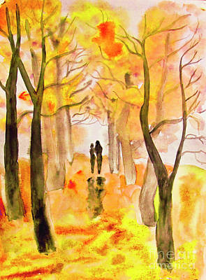 Couple On Autumn Alley, Painting Art Print by Irina Afonskaya