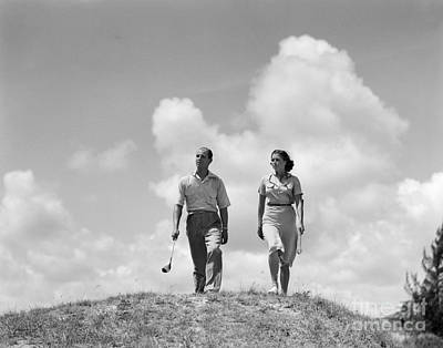 Couple Out Golfing, C.1930s Art Print